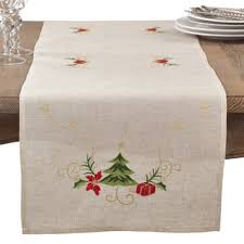 bella lux fine linens table runner embroidered holly design holiday linen blend table runners free