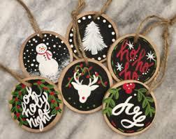 handmade painted wood slice ornament painted
