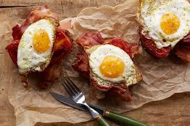 dinner egg recipes bacon egg and tomato toast recipe epicurious com