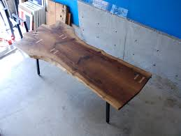 Slab Dining Table by Buy Custom Ship Ready Now Walnut Slab Dining Table With Maple