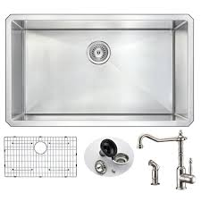 undermount kitchen sink with faucet holes anzzi vanguard undermount stainless steel 32 in 0 single bowl