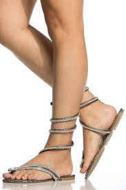 silver wrap around embellished thong sandals cicihot sandals