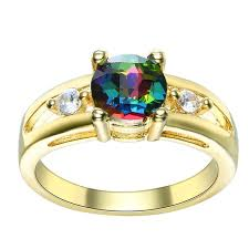 Wedding Gift Gold Aliexpress Com Buy Gold Color Rainbow Crystal Rings For Women