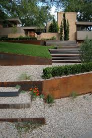 front yard retaining wall landscape contemporary with cor ten
