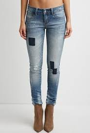 Distressed Low Rise Forever 21 2000179764 I Like 5 Pocket Ankle Length In Washed Stretch Denim With Heavily