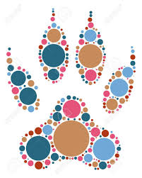 wolf paw print shape design by color point royalty free cliparts