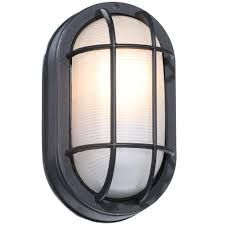 Cast Iron Outdoor Lighting by Hampton Bay Black Outdoor Oval Bulkhead Wall Light Hb8822p 05
