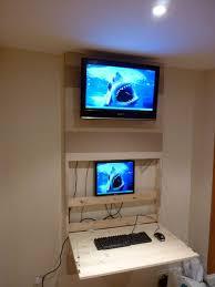 Computer Wall Desk The Tv Wall Mount Desk U0026 Hidden Pc 6 Steps