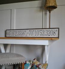 latitude longitude coordinates 7x48 sign distressed shabby chic