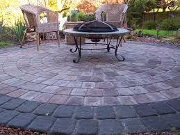 cheap paver patio ideas with concreate also rattan chairs and