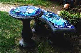 Bench Molds - cement bird bath stained glass concrete bench top concrete bench