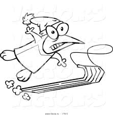 vector of a cartoon sledding penguin coloring page outline by