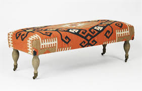 rustic deep orange coral red woven kilim bench ottoman kathy kuo