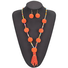ethnic necklace jewelry images Best boho ethnic pom pom ball jewelry set small seed beads long jpg