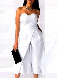 white formal jumpsuit s solid strapless wide leg cropped jumpsuit novashe com