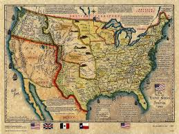 united states of america map with states and major cities the united states of america 1845 map