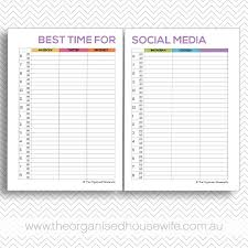 social media planner social media time management planner the organised housewife shop