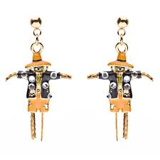 halloween costume jewelry dazzle crystal scarecrow dangle earrings