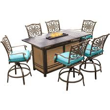 Patio High Dining Table by Hanover Traditions 7 Piece Aluminum Rectangular Outdoor Bar Height