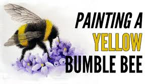 how to paint a bumble bee with inktense in yellow youtube