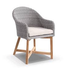 Gray Wicker Patio Furniture by Coastal Wicker Dining Chair W Teak Timber Legs Brushed Grey