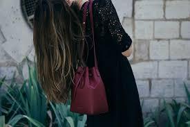 mansur gavriel bucket bag and jadicted lace dress ays yuva