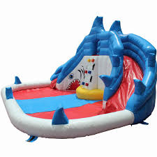 backyard shark inflatable water slide swimming pool water park