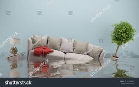 water damager after flooding house furniture stock illustration