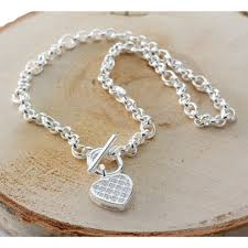silver bracelet with heart pendant images Silver heart t bar toggle necklace and bracelet jewellery jpg