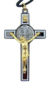 st benedict crucifix black enamel gold tone benedict icon cross