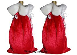 christmas holiday wine liquor gift bags wide size 2 bags by
