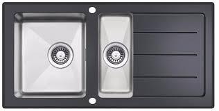 inset kitchen sink reversible black glass stainless steel 1 5 bowl inset kitchen sink