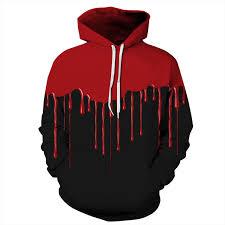blood red paint men halloween red paint hoodie blood women hooded sweatshirt black