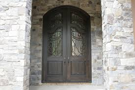 Carved Exterior Doors Black Wooden Entry Doors With Black Metal Carving Connected
