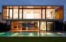 exterior beautiful modern box house design with small pool and