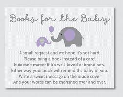 book instead of card baby shower poem elephant baby shower bring a book instead of a card invitation
