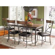 hillsdale cameron 7 piece rectangle wood and metal dining table