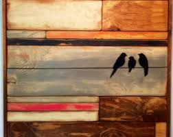 reclaimed wood wall wall hanging birds on