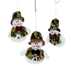 camouflage snowman plush ornaments set of