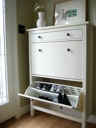 white stained wooden pull out shoe storage organizer with drawers
