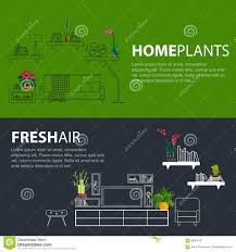 flat line web banner template outline icons living room interior