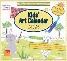 amazon com paper craft 2016 kids u0027 art calendar 16 month coloring