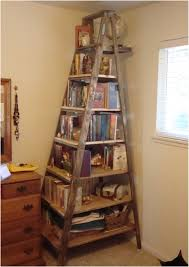 rustic style cappuccino ladder bookshelf 2 storage wall ideas