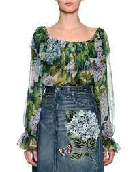 green chiffon blouse dolce gabbana hydrangea the shoulder chiffon blouse green
