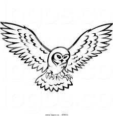 royalty free vector of a logo of a black and white owl in flight