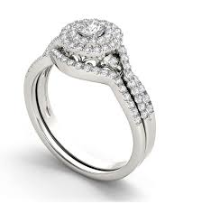 Wedding Ring Sets For Her by 1 10 Carat Round Diamond Double Halo Wedding Ring Set For Her
