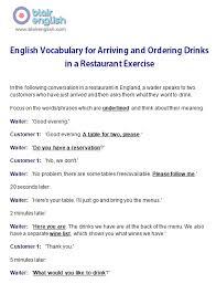 restaurant u0026 food english vocabulary class worksheets lesson plans