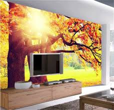 wallpaper livingroom custom mural photo 3d wallpaper livingroom autumn leaves dusk