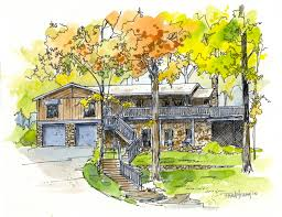 Residential Ink Home Design Drafting by House Painting Custom Pen Ink Watercolor Wash Home House