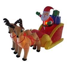 santa sleigh and reindeer lb international 4 santa sleigh and reindeer lighted